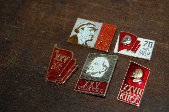 Set of 5 Vintage Soviet pins badges Communist party badges Lenin badges Soviet propaganda  1970s