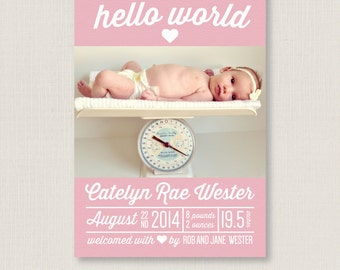 custom birth announcements  Infographic Birth Announcement / Customized Photo Card / for