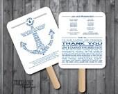 Personalized Nautical   Anchor Wedding Ceremony Program Fan - Digital File