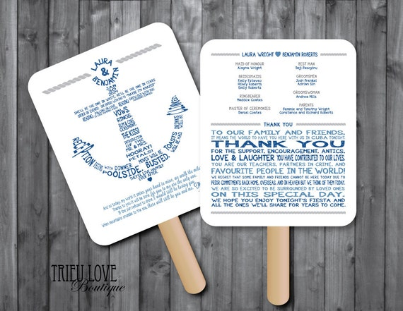 Printable nautical wedding invitations personalized nautical anchor wedding ceremony program fan digital file solutioingenieria Image collections