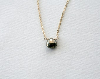 Pyrite Necklace - 14K Gold Filled Chain with Faceted Pyrite Jewelry
