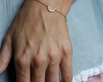 Moon & Stars Bracelet, Diamond Bracelet, Pave Diamond Bracelet, Crescent Bracelet, Gold Moon Bracelet