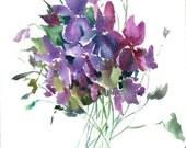 Violets, Original watercolor painting, 12 X 9 in, violet flowers, floral art, botanical
