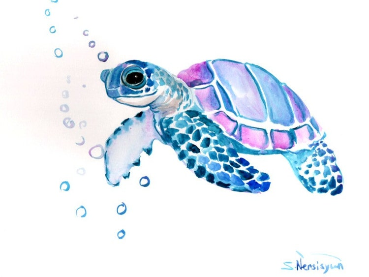 Sea Turtle Original watercolor painting 9 X 12 in by ...