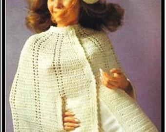"Vintage Cape ""PONCHO"" Crochet Pattern - PDF Instant Download - Beret Hat - 70s Vintage Fashion - Tam Hat - Button Up Cloak Poncho Shawl"