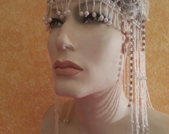 Gatsby 20's Style Waterfall Beaded Lace Crystal Flapper Headpiece Hat Bridal Wedding Costume Party Theatrical Burlesque/More Colors Avail .