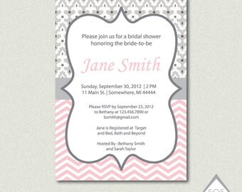 Modern Damask and Chevron Shower Invitation - Printable PDF or JPEG