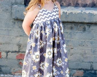 Girl Maxi Dress- Modern Kids Clothing- Custom Girls Maxi Dress- Maxi- Boutique Maxi- Custom Maxi Dress- Size 6mo-5yr- The Dottedduck