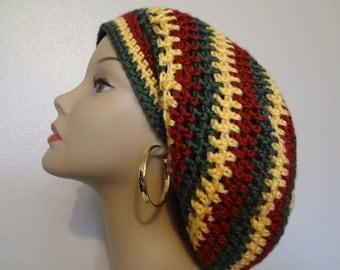 Slouchy Hat - Rasta Hat - Reggae - Dread Hat - Bob Marley Style - Handmade - Crochet