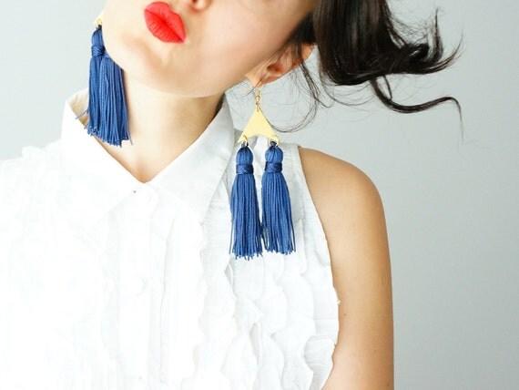 EARRINGS // Chatillion // Tassel Earrings/ Triangle Earrings/ Geometric Earrings/ Statement Earrings/ Royal Blue Earrings/ Gold Earrings
