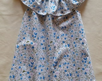 Blue Floral Frilled Dress