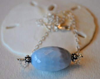 Faceted Baby Blue Agate Necklace on Sterling Silver chain    simple, boho, minimalist
