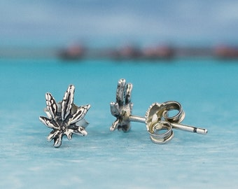 Marijuana Leaf Stud Earrings : 925 Sterling Silver Stud Earring  - hand made jewelry