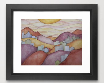 Art Print Giclee / Colorful Hillsides Watercolor Painting Print / Several Sizes