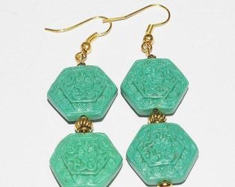 Handmade Pierced Earrings Cinnabar Green Hexagons -               S267