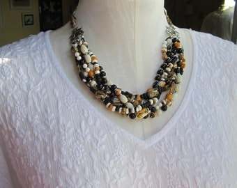 Chunky Black White &Mustard Yellow Necklace
