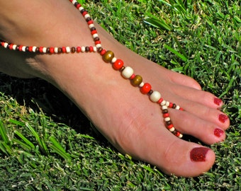 Brown, Red and White Wood Barefoot Sandals, Slave Anklet, foot jewelry, ankle bracelet with toe ring