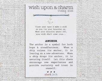 ANCHOR - Wish Bracelet - Sterling Silver Charm - Waxed Irish Linen - Choose Your Own Color