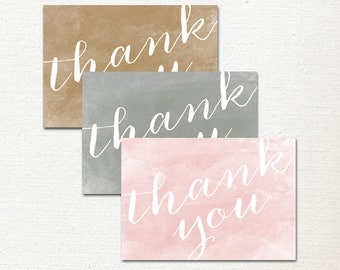Thank You Card, Watercolor Notecards, Gold, Gray, Pink