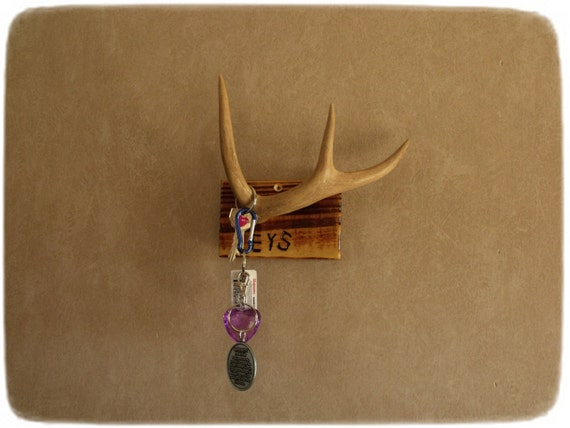 Rustic key holder deer antler reclaimed wood by legendarysales - Antler key rack ...