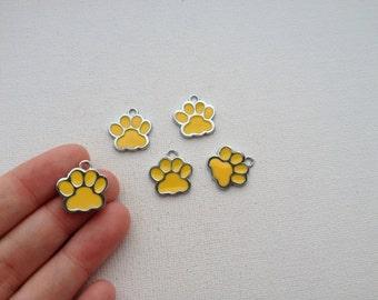 5 - Yellow Enamel Paw Print Charms