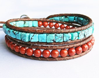 Turquoise Beaded Leather Bracelet, Southwest Style, Brown Leather Wrap, Red Jasper