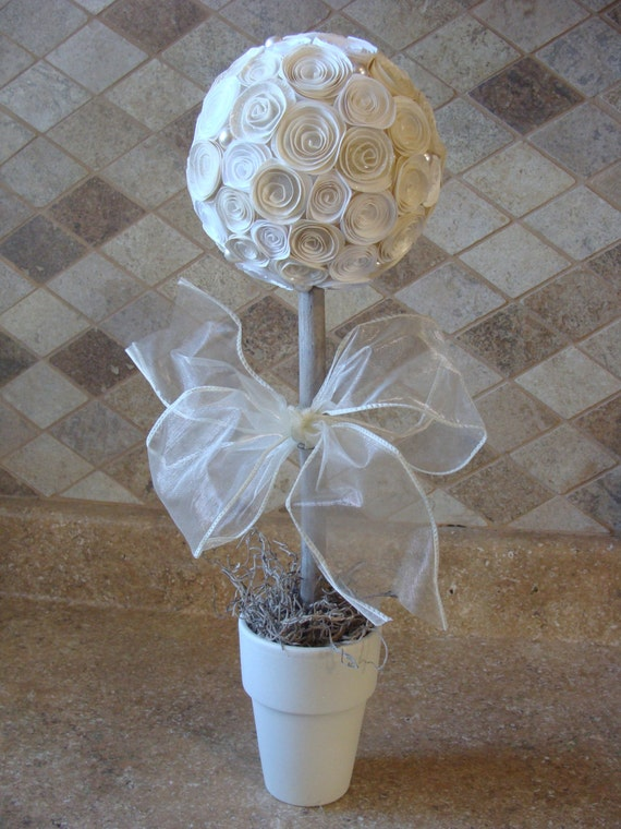 Ivory off white and rose flower topiary by