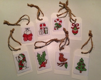 Set of 8 Christmas Cross Stitch Gift Tags