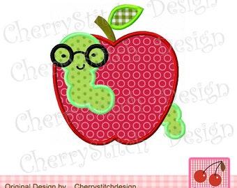 "Book Worm School Apple Machine Embroidery Applique -4x4 5x5 6x6"""