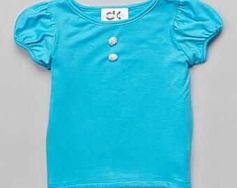 Turquoise Cap-Sleeve Tee - Infant, Toddler & Girls