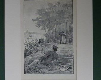 Antique Edwardian Print Of Couples In Love - Romantic Art Print - Antique Picture - Summer Day - Love You - Romantic Gift - Valentine's Day