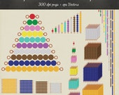 Montessori Beads Clipart Vector 39 Piece Pack - 38 Designs PNG Files & EPS Vectors - Scrapbook Montessori Golden Beads Stair Printable