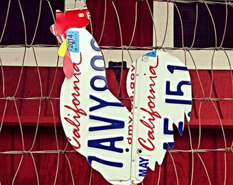 Upcycled California License Plate Chicken Rooster Wall/Coop Art
