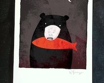 Bear and Salmon- art print