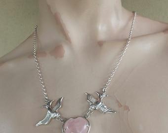 sterling silver swallow bluebird rose quartz heart rockabilly steampunk gothic art nouveau victorian