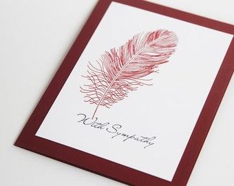 With Sympathy Feather Hand Made Card, Sorry For Your Loss Note Card, Thinking of You Card