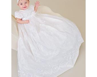 Preslee Heirloom Silk Christening Gown