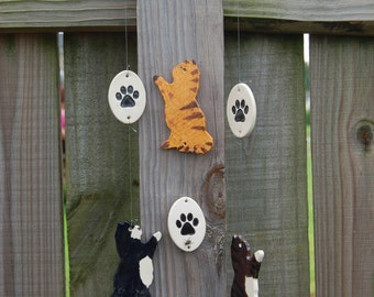 Playful Kitties Wind Chime, Adorable Personalized Cat Wind Chime, Kitten Wind Chime, Cat Garden Decor, Cat Wind Chime, Cat Lover Gift