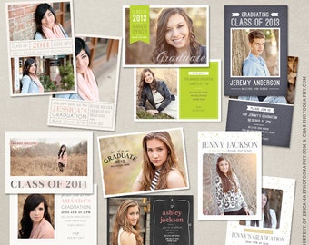 Senior Graduation Announcement Template Bundle for Photographers PSD Flat card - Set 3