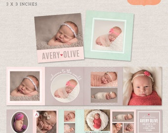 3x3 Mini Accordion Album Template - Newborn album template for photographers MA001 - INSTANT DOWNLOAD