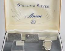 Anson Cuff links Set with matching Tie Tac and Knife - Sterling Silver
