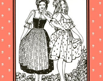 Folkwear Austrian Dirndl Dress / Jumper, Blouse and Apron Sewing Pattern 123 size 8-16 German, Swiss Style