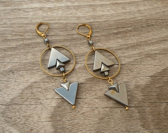 Geometric Hematite Earrings, Arrow Brass Earrings, Elegant Earrings