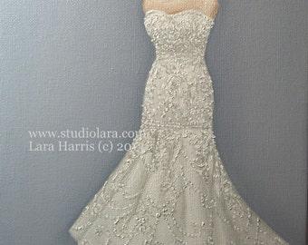 CUSTOM Wedding Dress Illustration Painting in OIL by LARA 11x14 Bridal Sketch Anniversary Gift