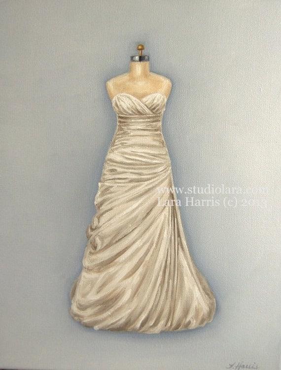 Custom wedding dress illustration painting in oil by lara for Best etsy wedding dress shops