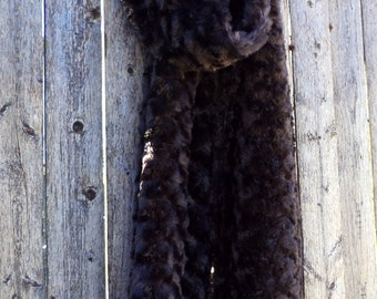 Faux Fur Scarf - Brown with Beaded Trim