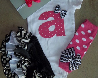 Baby Girl Outfit, Birthday Outfit, Personalized Initial, Satin Bloomers, Bodysuit, and Leg Warmers Set