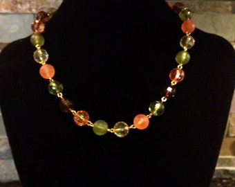 Orange, Green, Brown, Fall Color Link Faceted Bead Necklace