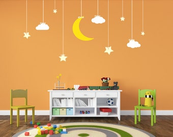 Nursery Decor Hanging Stars and Moon Decal Space Decal Vinyl Wall Decal