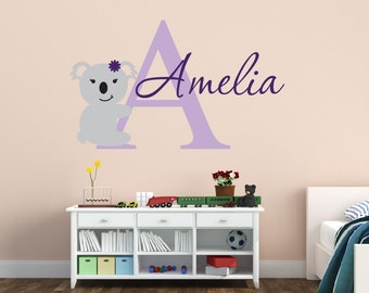Koala Wall Decal - Girls Name Wall Decal - Baby Girl Nursery Wall Decal - Koala Name Wall Decal - Vinyl Wall Decal - Vinyl Lettering